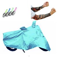Bull Rider Bike Body Cover with Mirror Pocket for Hero Passion Xpro (Colour Cyan) + Free (LED Light + Arm Sleeves) Worth Rs 250