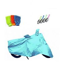 Bull Rider Bike Body Cover with Mirror Pocket for Honda CB1000R (Colour Cyan) + Free (LED Light + Microfiber Gloves) Worth Rs 250