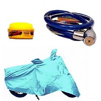 Bull Rider Bike Body Cover with Mirror Pocket for Hero HF Deluxe Eco (Colour Cyan) + Free (Helmet Lock + Wax Polish) Worth Rs 250