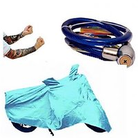 Bull Rider Bike Body Cover with Mirror Pocket for Bajaj Discover 125M (Colour Cyan) + Free (Helmet Lock + Arm Sleeves) Worth Rs 250