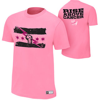 CM PUNK RISE ABOVE CANCER New Tshirt PINK Made in india