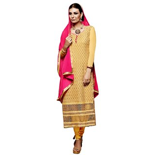 BanoRani Yellow Color Chiffon Embroidery UnStitched Dress Material (Chudidar)