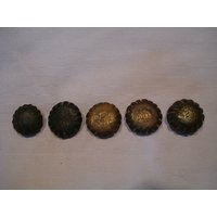 Old Rare Solid Bell Metal Round Bronze Scales Weights.
