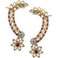 Kriaa Kundan Pink Austrian Stone Floral Gold Finish Ear Cuff - 1305625