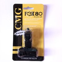 Asfit Fox 80 Pealess Whistle with Lanyard(Black)