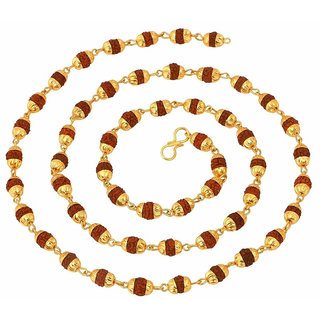 Mahi Gold Plated Rudraksh Mala Chain Long 24 inches for Men CN1100216G