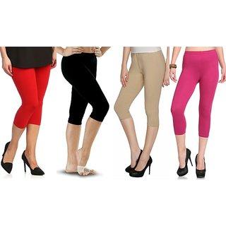 Raabta Fashion Multicolor Cotton Lycra 3/4th Capris For Women