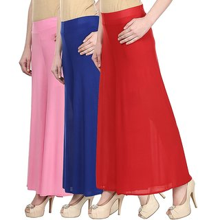 Skyline Pack Of 3 Beige, Black  Pink Georgette Palazzo Trousers (SkylineCSDPLZOA238)