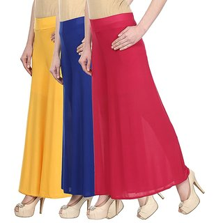 Skyline Pack Of 3 Yellow Blue Pink Satin Lycra Palazzo Trousers (SkylineCSDPLZOA1136)