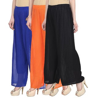 Skyline Pack Of 3 Blue, Orange  Black Georgette Palazzo Trousers (SkylineCSDPLZOB345)