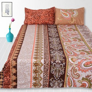 Story@Home 240 Tc 100% Cotton Brown King Size 1 Double Bedsheet With 2 Pillow Cover-Tv1212