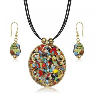 Urthn Gold Finish Multicolor Pendant With Earrings - 1202216