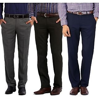 Gwalior Premium Formal Trousers Pack Of 3 Grey, Blue & Black
