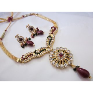Stunning Royal Look Gold Plated Crystal Jewellery Set With Precious Stones