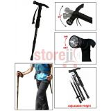 Anti Shock Trekking Walking Hammer Stick Pole With 9 Led Torch Light Adjustable Head Height With Compass And Holding Strap