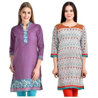 Sai Ruchi Printed A-line Casual Wear Regular Fit Kurti (Pink-Orange)