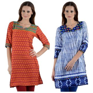 Sai Ruchi Printed A-line Casual Wear Regular Fit Kurti (Multicolor)
