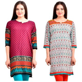 Sai Ruchi Printed A-line Casual Wear Regular Fit Kurti (Purple-Orange)