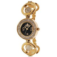 Excelencia WW-01-Golden-Black Studded Analog Watch -For Women 640788559118