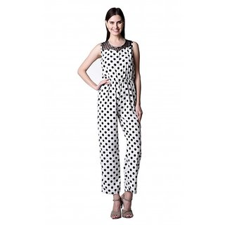 Westrobe Black White Crepe Dotted Jumpsuits For Women