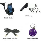 Combo Of Universal Mobile Holder+Aux Wire+USB Car Charger Free Smiley Key Chain.