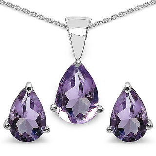 1.20CTW Genuine Amethyst  .925 Sterling Silver Pendant Set