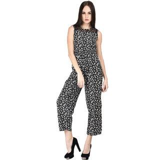 Ektara Womens Black Floral Printed Jumpsuit