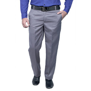 Routeen Mens Wall Street Grey Slim Fit Formal Trousers