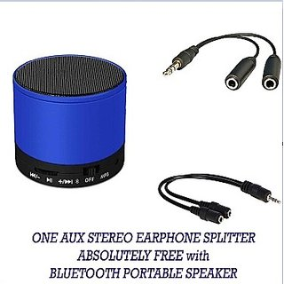 ADCOM Mini Portable Bluetooth Speaker + Aux Stereo Audio Earphone Splitter FREE