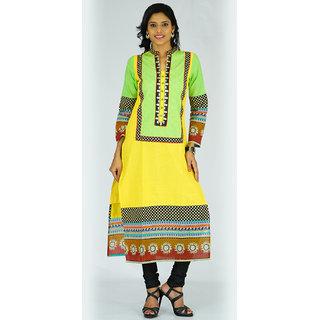 Alokaa casual green embroidered kurti