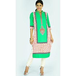 Alokaa causal embroidered  green kurti