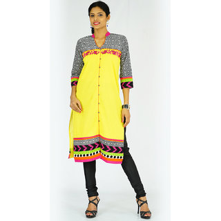 Alokaa casual embroidered yellow kurti