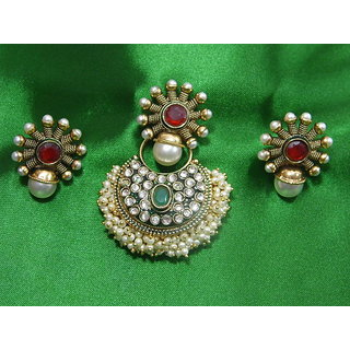 Sparkling Golden Earring And Pendant Set In Pearls, American Diamond