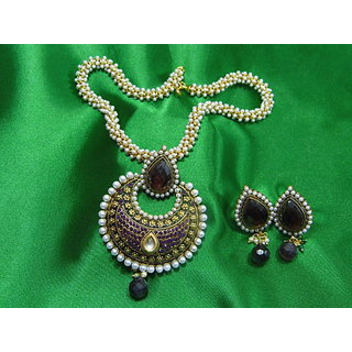 Beautiful Necklace And Dangling Earring Set With American Diamonds, Pearls