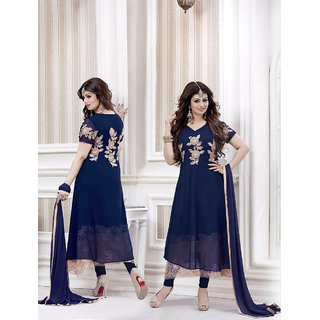 Thankar Navy Blue Georgette Straight Suit