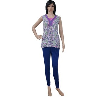 Pezzava: Sequins Work Ladies Wear Cotton Kurta Block Print TOP-A0211