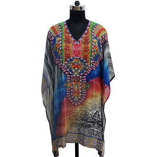 Kaftan with stone embroidery
