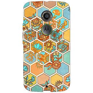 1 Crazy Designer Floral Hexagon Pattern Back Cover Case For Moto X (2nd Gen) C230283