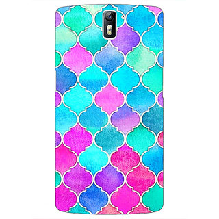 1 Crazy Designer Pink Blue Moroccan Tiles Pattern Back Cover Case For OnePlus One C410294