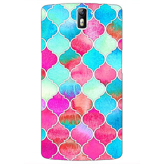 1 Crazy Designer Blue Pink Moroccan Tiles Pattern Back Cover Case For OnePlus One C410295