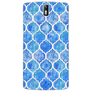 1 Crazy Designer White Blue Moroccan Tiles Pattern Back Cover Case For OnePlus One C410296
