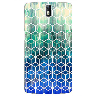 1 Crazy Designer Blue Hexagon Pattern Back Cover Case For OnePlus One C410285