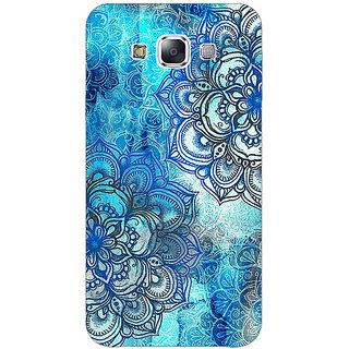 1 Crazy Designer Blue Floral Doodle Pattern Back Cover Case For Samsung Galaxy E5 C440211