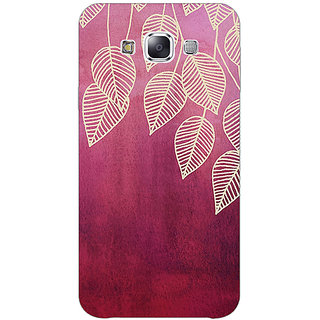 1 Crazy Designer Golden Leaves Pattern Back Cover Case For Samsung Galaxy E5 C440217
