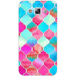 1 Crazy Designer Blue Pink Moroccan Tiles Pattern Back Cover Case For Samsung Galaxy E5 C440295