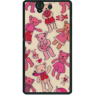 1 Crazy Designer Teddy Pattern Back Cover Case For Sony Xperia Z C460263