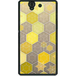 1 Crazy Designer Yellow Hexagons Pattern Back Cover Case For Sony Xperia Z C460273