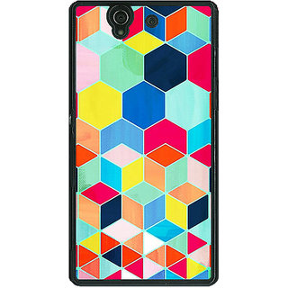 1 Crazy Designer Multicolour Hexagon Pattern Back Cover Case For Sony Xperia Z C460286