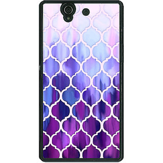 1 Crazy Designer White Purple Moroccan Tiles Pattern Back Cover Case For Sony Xperia Z C460297