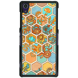 1 Crazy Designer Floral Hexagon Pattern Back Cover Case For Sony Xperia Z1 C470283